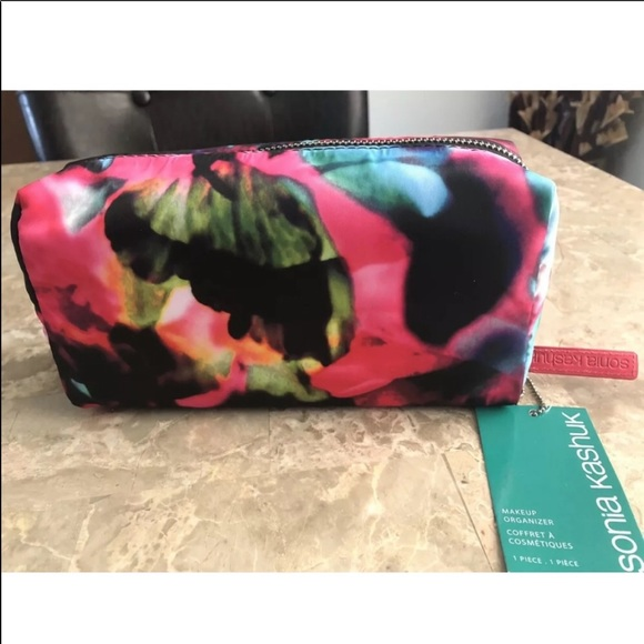 a5ca05afe364 Sonia Kashuk black pink cosmetic bag pouch NWT